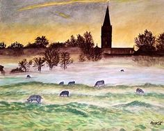 Salisbury Cathedral Painting - Mist At Sunrise In Salisbury by Jo lan Tao Salisbury Cathedral, Tao, Mists, Fine Art America, Sunrise, Wall Art, Painting, Painting Art, Paintings