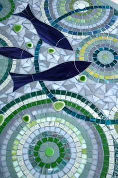 Mosaic round table for inside or outside by AnisCeladon on Etsy, €500.00
