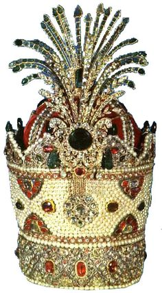 """Iranian crown.  """"The Kiani Crown made on the orders of Fath Ali Shah is undoubtedly one of the most fabulous crowns ever made in the history of the monarchies of the world.""""  Fabulous information on this crown at the originating website."""