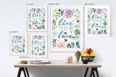 Home Office decor Live life love inspirational signs