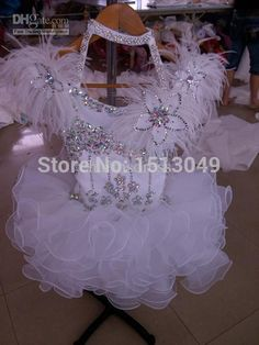 White Flouncing Organza Above knee Mini Ball gown Crystals Halter feather Cupcake Girl's Pageant Dresses Infant Toddler Dresses Glitz Pageant Dresses, Ball Gown Dresses, Flower Dresses, Little Girl Dresses, Girls Dresses, Toddler Dress, Infant Toddler, Buy Dress, Special Occasion Dresses