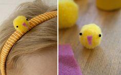 paas haarband met pompon kuikentje