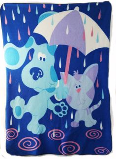 Blues Clues Blue & Magenta XLarge Blanket 4 x 5 ft Fleece 2002 Throw Lovey Plush #BluesCluesNickJr2002