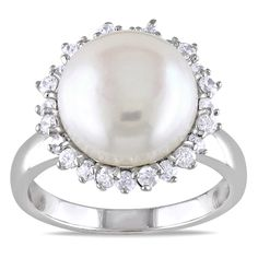 <li>Freshwater white pearl and white topaz gemstone ring</li> <li>Sterling silver jewelry</li> <li><a href='http://www.overstock.com/downloads/pdf/2010_RingSizing.pdf'><span class='links'>Click here for ring sizing guide</span></a></li>