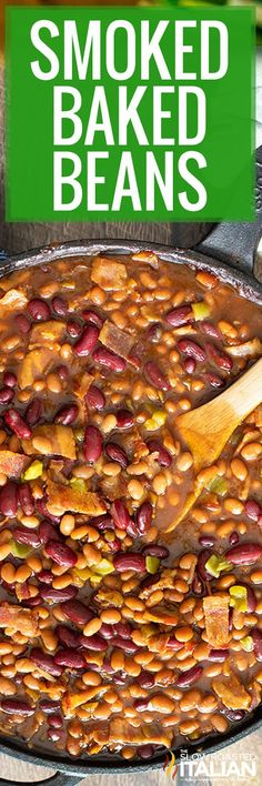 Smoked baked beans is the first of our smoker recipes! These tender beans with bacon are the perfect side dish! Make this recipe using any smoker. #SmokedBakedBeans #Smoker #SummerSide