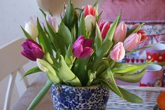 tulips on the kitchen table by dutch blue, via Flickr
