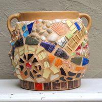 Caramel Stoneware Mosaic Crock by rushcreekmosaics on Etsy