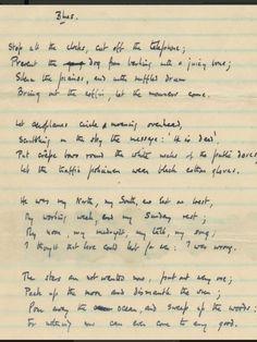 W H Auden's Manuscript of Funeral Blues