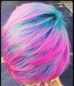 Purple pink blue dip dyed hair