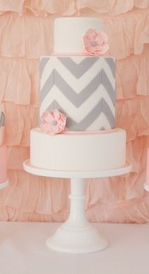 Pink & Grey Chevron bridal shower cake by Sweetcheeks Cookies & Cakes Must have but no fondant on the white cake!!