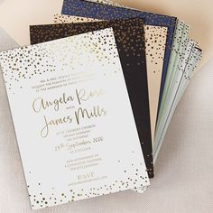 Personalised Gold Foil Confetti Elegant Wedding Invitation Foil-Pressed Calligraphy Wedding Card Thick Board by CardsPaperLove on Etsy Wedding Invitations Australia, Classy Wedding Invitations, Wedding Invitation Wording, Elegant Wedding Invitations, Camp Wedding, Gold Wedding, Wedding Cards, Wedding Day, Wedding Venues