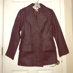 NEW! Mocha Leather Coat! Newport News brand. Brand new! No tags, but the buttons are covered with a protective cover on the sleeves still (see photos). This coat has never been worn and is in new condition! It is a soft mocha leather and fits like a Pea coat. Figure flattering and versatile! Great for layering! Wear with a scarf and a sweater in the winter! Wear as a lighter jacket in the spring and fall with lighter under layers! Newport News Jackets & Coats Pea Coats