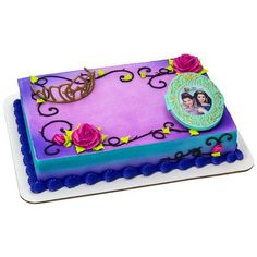 Descendants cake topper set- includes crown and magic mirror piece featuring Mal and Evie.