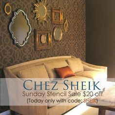 Save on one of our most popular stencils-Chez Sheik Moroccan Stencil with code: SHEIK. Stenciled Table, Wallpaper Stencil, Moroccan Stencil, Cool Mirrors, Ceiling Treatments, Royal Design, Stencil Designs, Furniture Projects, Home Organization