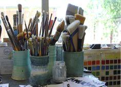 pretty blue pots for brushes, pencils, etc