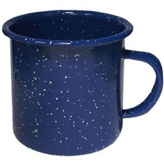 Lake Mug    Our Lake Cup is the traditional speckled enameled steel camp cup. It looks like the old fashioned tin/metal camp cups. This great camping mug with speckled enamel comes in the traditional speckled blue color. Our Lake Mug is perfect for an old time country or retro program. This mug will also be ideal for outfitters, outdoor events and other camping related uses. If you need a cup for a camp related marketing promotion then this is the cup for you.