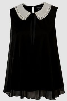 Black chiffon sleeveless top with white collar