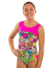 Pink & Green Zebra Heart Bow-Back Leotard - Girls