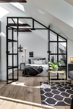 Glass door is a good solution when the room has no windows. But when it has a big one, glass door could become a cool highlight of the interior. Like in this small one-bedroom attic apartment in Sweden with open space, a lot of light and cozy balcony. Enjoy!
