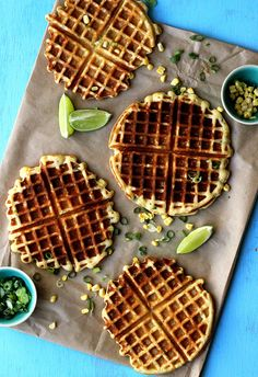 Corn and scallion belgian waffles
