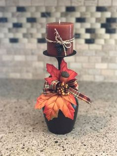 11 SOLD at my recent craft fair! Hand painted with beautiful Aged Bronze paint! This is made to order so each design may vary slightly. Wine Glass Crafts, Wine Craft, Bottle Crafts, Wine Glass Candle Holder, Candle Holders, Fall Candles, Fall Crafts, Creations, Hand Painted