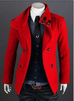 Men's Slim Fit Double Breasted Strap Trench Casual Coat Long Jacket Overcoat Red | eBay