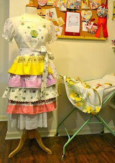 Apron made from vintage pillowcases