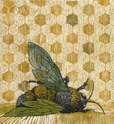 Kate Samworth - Plight of the Honey Bee. Woodcut.