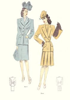 Fashion History - 1946 - Tailleur Trade Fashion Plates - Free Pictures - Fashion History, Costume Trends and Eras, Trends Victorians - Haute Couture New Look Fashion, Fashion Line, 1940s Fashion, Fashion Images, Fashion Art, Vintage Fashion, Fashion Design, Autumn Fashion, 1940 Clothing