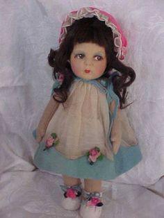 Vintage Lenci Doll Felt Soft Sculpture Brunette Girl W Eyelashes Torino Italy