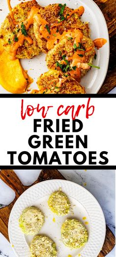 Looking for the best ever Low Carb Fried Green Tomatoes?  This is it!  You can make this recipe with confidence and know that the whole crowd will love it.  With almond flour, parmesan cheese, and  perfect seasonings, this easy appetizer recipe is a crowd pleaser!  #ketoappetizers #keto #lowcarb Healthy Vegetable Recipes, Low Carb Chicken Recipes, Healthy Dinner Recipes, Vegetarian Recipes, Keto Chicken, Easy Appetizer Recipes, Healthy Appetizers, Healthy Snacks, Keto Snacks