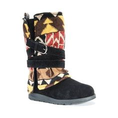 Strap in for a warm winter with the new Nikki Geo Boot from Muk Luks! Slip into the versatile style and comfort of the Nikki Boot, flaunting a synthetic suede upper with cozy plaid lining, and detachable geo-knit shaft overlay with colorblock details, and wraparound buckle strap to customize your look.