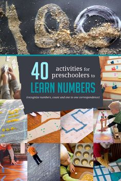 Awesome number activities for preschoolers to help learn how to recognize their numbers, along with counting and one to one correspondence.