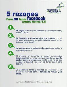 5 razones por que un menor de 13 años NO debe tener un perfil de facebook