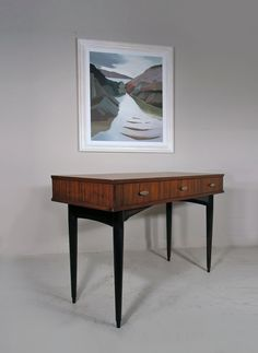 Herbert Gibbs mid century rosewood console table - painting 'Ardtoe' by Lindsey Hambleton Table Desk, Console Table, Mid-century Interior, Entryway Tables, Mid Century, Interiors, Design, House, Painting