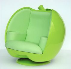 Then, one look at this apple shaped sofa and you will be transported into a world of total wonder. This funky sofa, designed by Pop Art Decoration, is nothing like any regular p Funky Sofa, Funky Chairs, Cool Chairs, Modern Chairs, Modern Armchair, Cute Furniture, Unusual Furniture, Outside Furniture, Modern Furniture