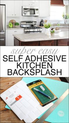 great solution to a diy backsplash    white self adhesive backsplash tiles  kitchen mini makeover   smart tiles backsplash smart tiles and      rh   pinterest com