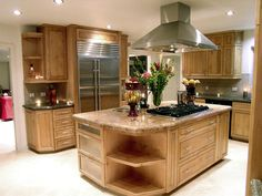 cooktop and a prep sink island