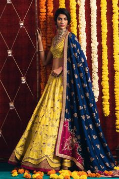 Happiness and Poise are the loveliest things you can wear. Yellow and royal blue lehenga to amalgamate them to perfection.<br> Jewellery Courtesy: Sitara Jewellery.They can customize the dress as per your requirement. For more detail 17 February 2018