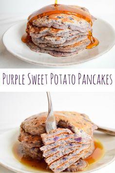 Purple Sweet Potato Pancakes —The prettiest brunch food