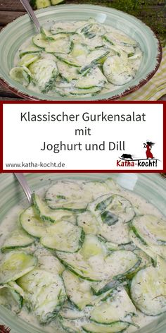 Ein klassischer Gurkensalat mit Joghurt und Dill ist nicht nur als Begleiter zu … Sponsored Sponsored A classic cucumber salad with yoghurt and dill is not only a great accompaniment to fish or barbecue recipes. It is easy, fresh and… Continue Reading → Salad Recipes Healthy Lunch, Salad Recipes For Dinner, Chicken Salad Recipes, Lunch Recipes, Healthy Lunches, Dinner Healthy, Salads For A Crowd, Food For A Crowd, Easy Salads