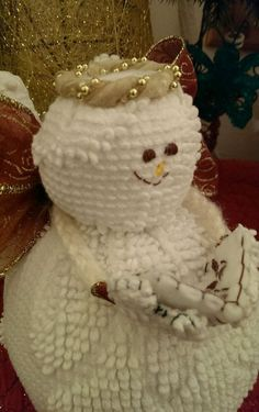 Handmade Vintage Hobnail White Chenille Bedspread Snow Angel Snowman Christmas