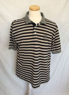 Pebble Beach Golf Club Mens Polo Shirt Sz Large Striped Beige Black Made In USA | eBay