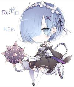 Rem- Re:Zero kara Hajimeru Isekai Seikatsu レム Cute Anime Chibi, Kawaii Chibi, Anime Kawaii, Ram And Rem, Re Zero Rem, Chibi Girl, Anime Dolls, Fantasy Girl, Tokyo Ghoul