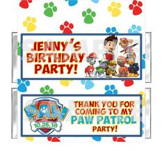 DOGS PAW PATROL  Birthday Party candy bar wrappers PERSONALIZED Free Foils #Unbranded #BirthdayChild