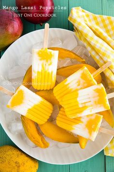 Mango Lassi Popsicles | recipe via /justonecookbook/