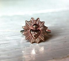 Hand crafted cast bronze Sacred Heart plate ring by RellikJewelry