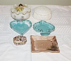 Trinket Boxes Collection of 6 Porcelain and Bone China,Pottery #porcelainpillbox