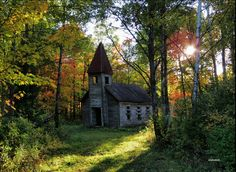 abandoned church in the spring: bloomville, wisconsin