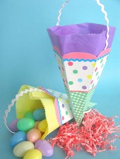 Download and Print off these May Day Baskets/Cones! or use for Easter!